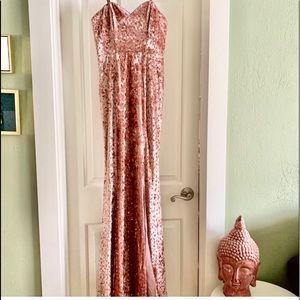Lulus Simply Elegant Blush Pink Sequin Maxi Dress